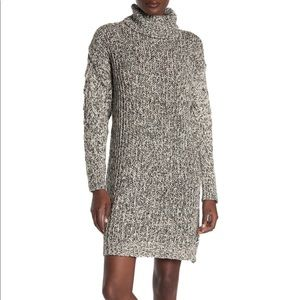 SOLUTIONS! Chunky MARLED knit cowl neck dress NWT